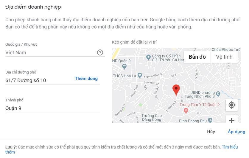 Thay đổi địa chỉ & vị trí trên Google doanh nghiệp